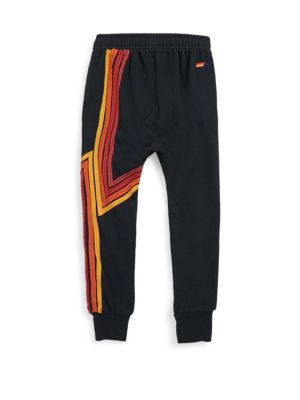 Image of Cozy cotton-blend sweatpants with vivid stripe appliques. Elasticized waist. Ribbed cuffs. Signature detail on waist. Cotton/polyester/rayon. Machine wash. Made in USA.