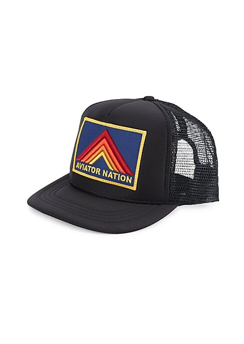 Image of Baseball cap with mesh back and logo embroidery. Cotton/polyester/rayon. Made in USA.