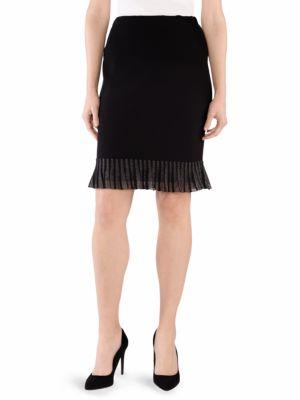 STIZZOLI, PLUS SIZE Ruffle-Trim Pencil Skirt in Black