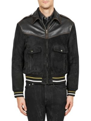 Smooth Leather & Suede Bomber Jacket in Black