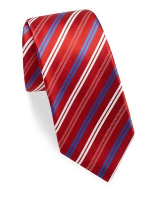 """Image of Essential silk tie with contrasting diagonal stripe design.3"""" wide. Silk. Dry clean. Made in Italy."""