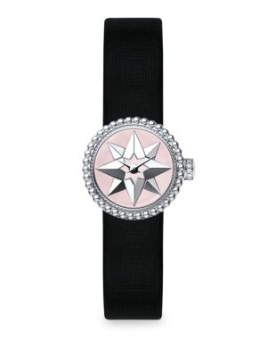 La D De Dior Satin, Mother Of Pearl & Stainless Steel Star Watch by Dior