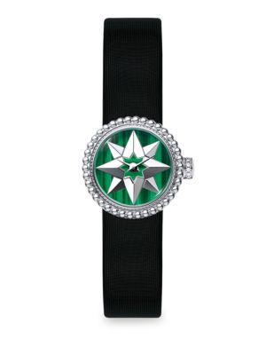 Dior  La Mini D de Dior Rose De Vents Malachite & Satin Watch