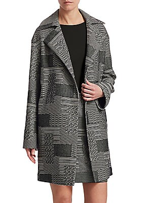 Image of Akris Punto's minimalist aesthetic often receives a modern graphic update. This jacquard coat is no exception as it exudes a striking graphic formation. Notch lapels Long sleeves Open front Viscose lining Woven finish Cotton/polyester/acrylic Dry clean Im