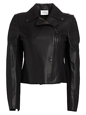 Image of This leather jacket receives a subtle update with its perforated texture. Crafted with jersey at the back, this jacket offers a striking feminine finish with its peplum hem at the back. Notch lapels Long sleeves Asymmetric zip front Snap-button front Acet