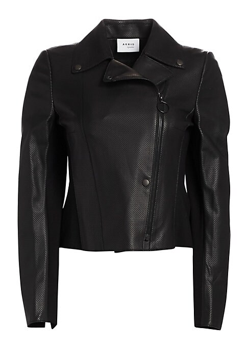 Image of This leather jacket receives a subtle update with its perforated texture. Crafted with jersey at the back, this jacket offers a striking feminine finish with its peplum hem at the back. Notch lapels. Long sleeves. Asymmetric zip front. Snap-button front.