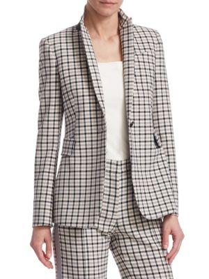 One-Button Long-Sleeve Flap-Pockets Tailored Glen-Check Blazer, Rose Pink