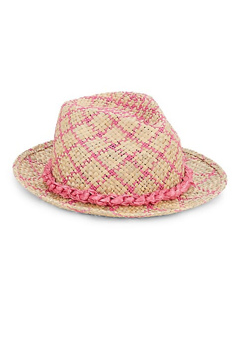 """Image of Contrast weaving adds feminine style to straw fedora. Textile paper/raffia. Crown: 5"""".Made in Italy."""