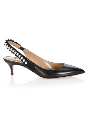 Love Story Leather Slingback Pumps, Black