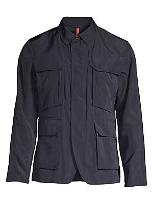 """Image of Utilitarian jacket with classic suit jacket accents Point collar Long sleeves Zip front with snap-button front closure Chest and waist flap pockets About 28"""" from shoulder to hem Shell/lining: Polyester Dry clean Imported. Men Luxury Coll - Seasonal Class"""