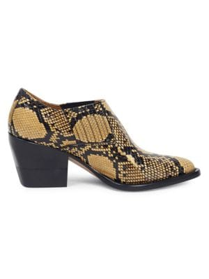 Python-Print Leather Ankle Boots - Yellow Size 10.5