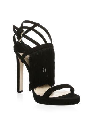 Jimmy Choo  Fringe Stiletto Suede Sandals