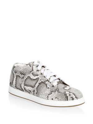 Leather Snakeskin Print Sneakers by Jimmy Choo