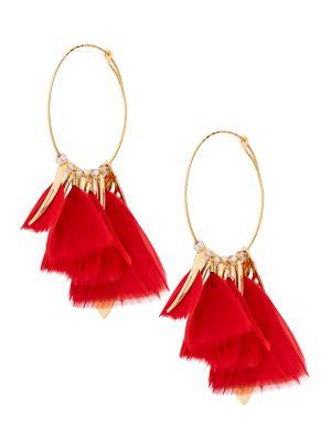Gas Bijoux Feather Hoop Earrings