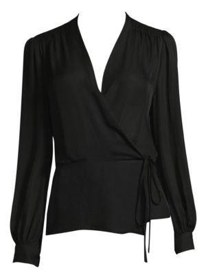 Cara Long-Sleeve Silk Wrap Blouse in Black from L'AGENCE