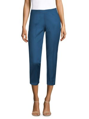 "Image of Pintuck details provide tailored aesthetic to pants. Seamed waist. Side zip closure. Pintuck details. Back vent. Rise, about 9.5"".Inseam, about 25"".Cotton/elastane. Dry clean. Made in Italy. Model shown is 5'10"" (177cm) wearing US size 4."