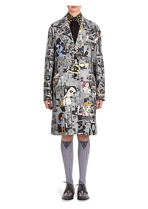 """Image of Button-front jacket in mixed comic book print. Notch collar. Long sleeves. Front flap pockets. Button-front. About 38"""" from shoulder to hem. Cotton/elastane. Dry clean. Imported. Model shown is 5'10"""" (177cm) wearing US size 4. ."""