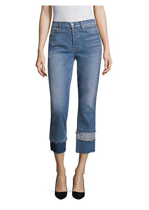 """Image of A frayed patchwork hem updates these versatile jeans. Belt loops. Five-pocket style. Button fly with button closure. Layered, unfinished hem. Cotton/spandex. Machine wash. Made in USA. SIZE & FIT. Rise, about 10"""".Leg opening, about 14"""".Inseam, about 27"""".M"""