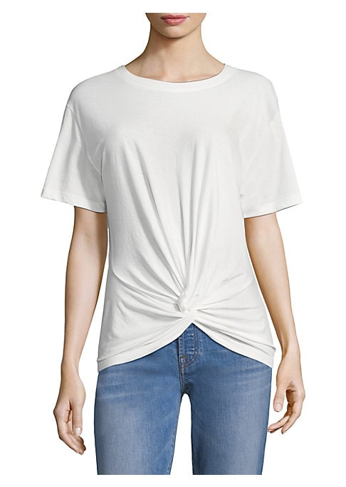 """Image of A knotted front adds shape to soft cotton tee. Roundneck. Short sleeves. Pullover style. Twist knot front. About 24"""" from shoulder to hem. Cotton. Machine wash. Imported. Model shown is 5'10"""" (177cm) wearing US size Small."""