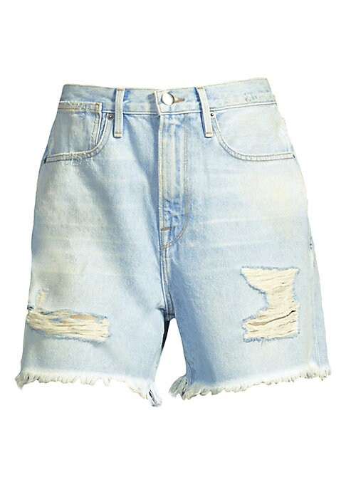 "Image of Distressed denim shorts with frayed trim. Belt loops. Front zip-fly with button closure. Five-pocket style. Rise, about 21"".Inseam, about 4"".Cotton/polyester/elastane. Dry clean. Made in USA. Model shown is 5'10"" (177cm) wearing US size 4."