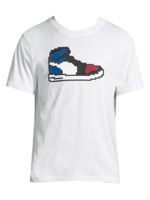 "Image of Pixellated sneaker graphic adds style to easy tee. Crewneck. Short sleeves. Pullover style. About 30"" from shoulder to hem. Cotton. Machine wash. Imported."