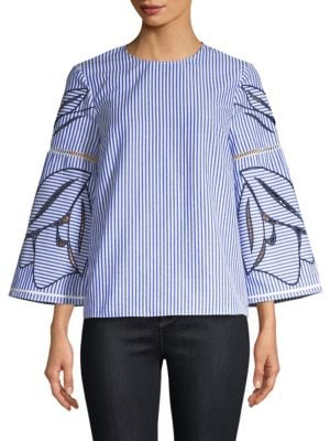 Martine Floral Embroidered 3/4-Sleeve Blouse in Navy White
