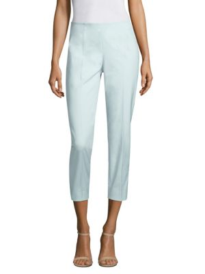 "Image of Pintuck pants adorn stretchy tapered pants. Seamed waist. Side zip closure. Rise, about 10.5"".Inseam, about 25"".Cotton/elastane. Machine wash. Made in Italy. Model shown is 5'10"" (177cm) wearing US size 4."