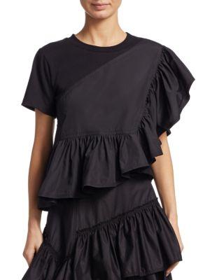 Flamenco Asymmetrical Ruffle Trim Tee in Black
