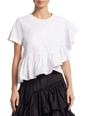 Ruffle Cotton Jersey & Poplin T-Shirt in White