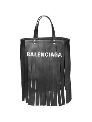 Extra Small Laundry Logo Fringe Calfskin Tote - Black, Noir/ Blanc