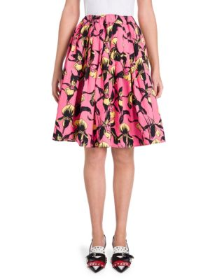 Pleated Floral-Print Cotton-Canvas Skirt in Pink