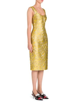 Felce Lame Jacquard Tubino Sheath Dress, Yellow
