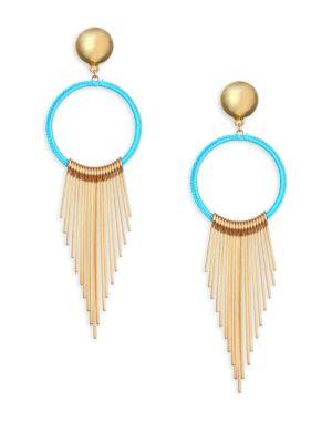 Ettika Blue Ring Fringe Earrings
