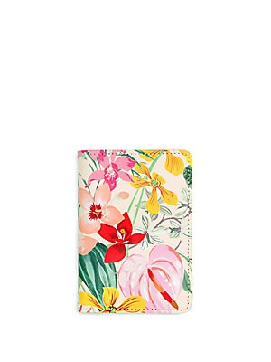 "Image of Floral-print updates this passport holder including slots for your credit cards and id. Interior pockets 4""W x 5.5""H x 0.5""D Polyurethane Imported. Gifts - Books And Music > Saks Fifth Avenue. ban. do. Color: Paradiso."
