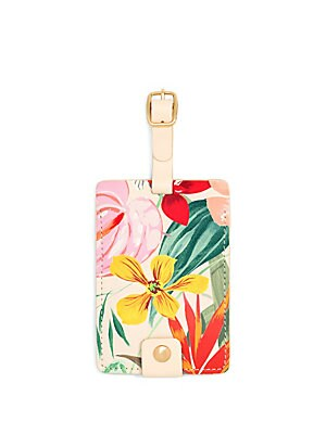 """Image of Floral printed luggage tag with polished hardware Buckle closure 4.5""""H x 3""""W x 0.125""""D Polyurethane/metal Imported. Gifts - Books And Music > Saks Fifth Avenue. ban. do."""