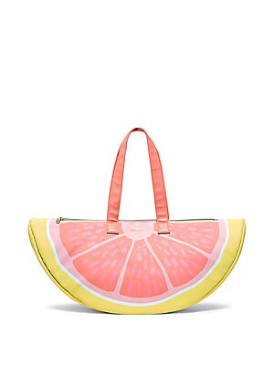 """Image of This grapefruit bag is extra cool because it lives a double life as both a cooler and a really cute purse Double top handles Top zip closure Gold hardware 21.5""""W x 10""""H Faux leather Imported. Gifts - Books And Music > Saks Fifth Avenue. ban. do."""