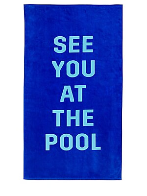 """Image of This beach towel is made of a lightweight terry cloth and is very, very big 70""""L x 40""""W Cotton Machine wash Imported. Gifts - Books And Music > Saks Fifth Avenue. ban. do. Color: Blue."""
