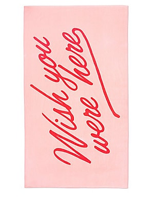 """Image of Oversize beach towel made of lightweight terry cloth for easy drying 70""""W x 40""""L Terry cloth Imported. Gifts - Books And Music > Saks Fifth Avenue. ban. do. Color: Pink."""