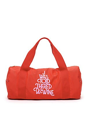 Image of This gym bag has a structured body, branded gold accents, cinched webbing handles (which add comfort), and pockets on each side. Top canvas handles Top zip closure 20W X 9H Cotton/metal Imported. Gifts - Books And Music > Saks Fifth Avenue. ban. do. Color