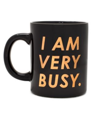 "Image of Ceramic mug for the perpetually busy. For hot or cold drinks.4""H x 3.25""W.Ceramic. Imported."