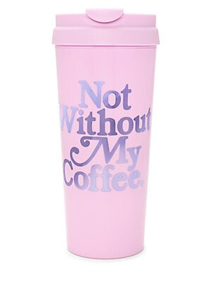 "Image of Thermal mug will keep any tea or coffee totally warm and totally cute Spill proof lid Double-walled insulation 3""W x 8""H x 3""D Acrylic/plastic Imported. Gifts - Books And Music > Saks Fifth Avenue. ban. do."