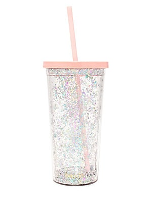 """Image of Double-walled sip sip tumbler gets a glittery upgrade Comes with soft silicone straw 20 oz 3.75""""W x 7.5""""H x 3.75""""D Acrylic Imported. Gifts - Books And Music > Saks Fifth Avenue. ban. do."""