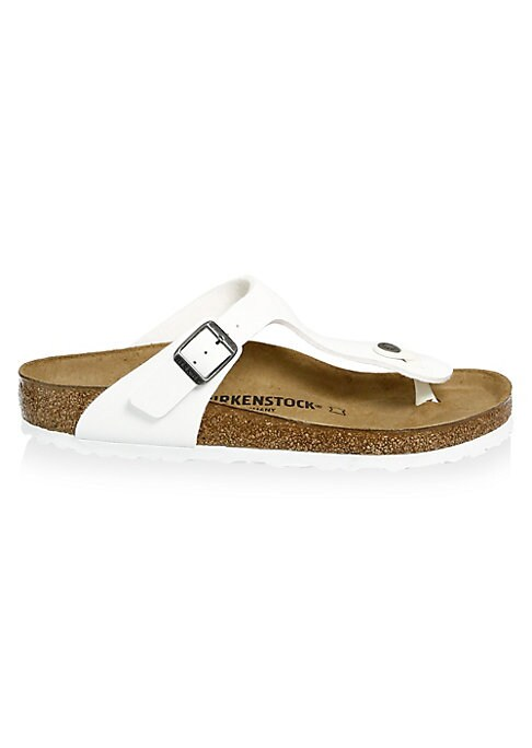 """Image of .Earthy thong sandal glossed for added edge. .Wedge heel, 1"""". .Synthetic Birko-Flor upper. .Adjustable buckle. .Synthetic sole. .Made in Germany. ."""