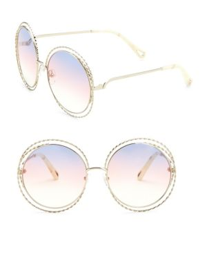 7c858e65c64 ChloÉ 62Mm Carlina Round Wire Metal Sunglasses In Yellow ...
