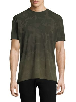 "Image of Casual cotton tee with allover camouflage print. Crewneck. Short sleeves. About 27"" from shoulder to hem. Cotton. Machine wash. Imported."