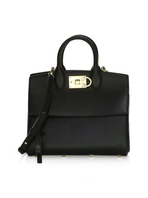 Small Studio Leather Satchel in Black