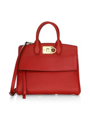 Small Studio Leather Satchel in Lipstick