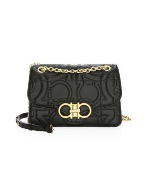 Quilted Gancio Leather Shoulder Bag - Black, Nero