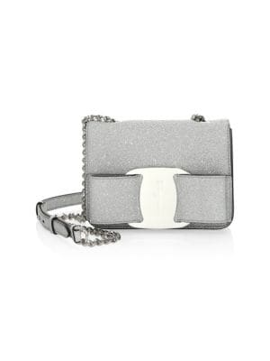 Mini Vara Oversized Bow Glitter Leather Crossbody, Silver