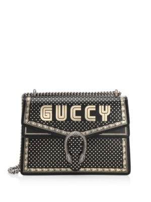 Black And Gold-Tone Medium Guccy Dionysus Shoulder Bag